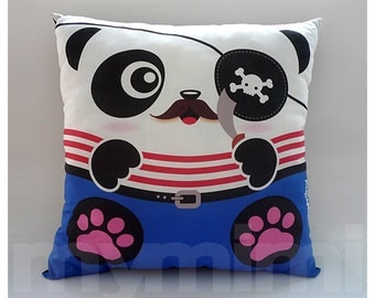 Pirate Panda, Mustache, Red and White, Animal, Decorative Pillow, Cotton Pillow, Kawaii, Cushion, Boys Room, Birthday Gift, Toys, 16 x 16""