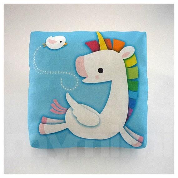 Decorative Pillow, Mini Pillow, Kawaii Print, Toy Pillow - Blue Rainbow Unicorn