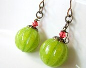 Apple Green Jade Pumpkin Earrings, Antique Brass, Crystal Stems, Pantone Inspired - JemsbyJBandCompany