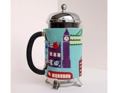 French Press Coffee Cozy - London Japanese Fabric Style -