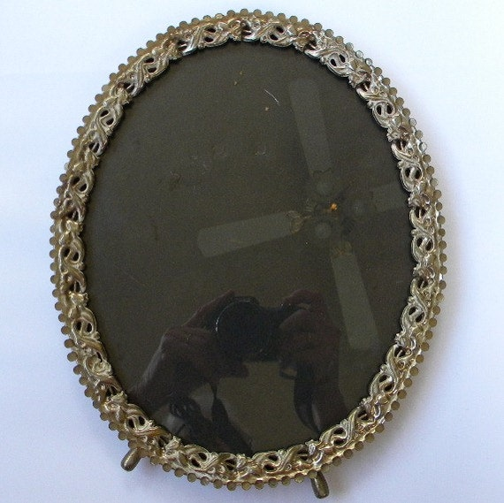 Ornate Oval Pierced Metal Picture Frame 8 x 10 Shabby Cottage