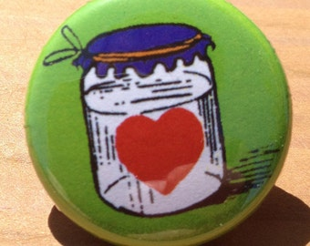 Heart in a Jar - button, magnet, or bottle opener