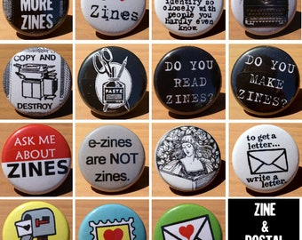 zine and postal set of 15 - Buttons or Magnets