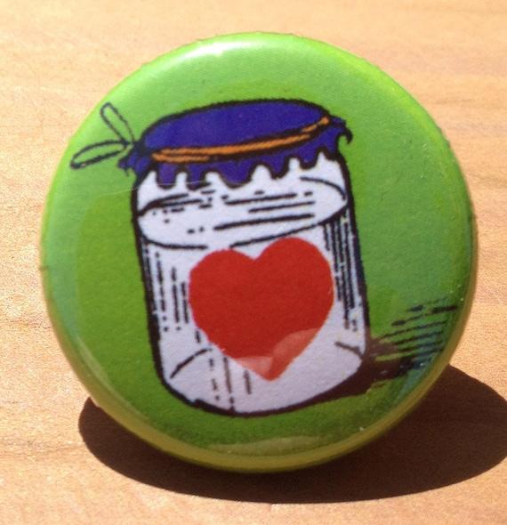 Heart in a Jar - button, magnet, or bottle opener