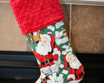 CHRISTMAS STOCKING for Men and Boys - Santa on Green Stocking