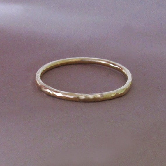 14k Gold Stacking Ring - Hand Hammered 14k Recycled Yellow Gold - 1.3 mm