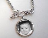 Custom Photo Necklace - LOVE - Custom Photo Pendant with Love Charm