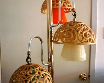 Vintage 70s Mushroom Pole Suspension Lamp Mori Forest Home Decor