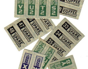 15pcs WWII RATION STAMPS 1940s Vintage