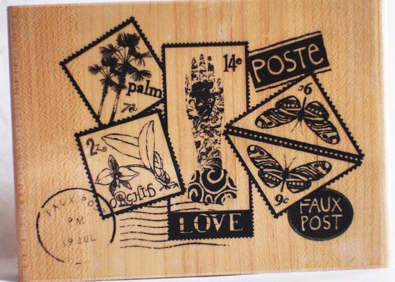 faux post postage mail art LARGE rubber stamp