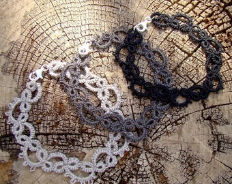 Tatted Lace Bracelet - The Vine - Organic Linen Thread