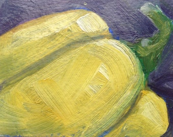 Acrylic painting of Yellow Bell Pepper  ACEO