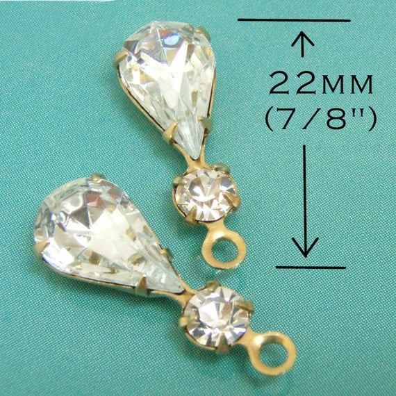 Crystal, Vintage Rhinestone, Pear, Swarovski Crystal, Golden Brass Settings, Charms, One Pair, Worldwide Shipping