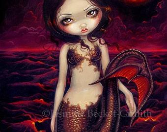 Mermaid Eclipse lunar moon fairy art print by Jasmine Becket-Griffith 8x10