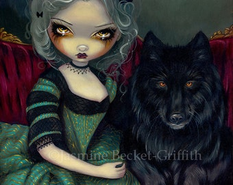 Loup-Garou: Noir black werewolf fairy art print by Jasmine Becket-Griffith 8x10