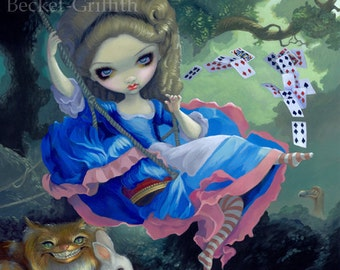 Alice in Fragonard's Swing french rococo wonderland fairy art print by Jasmine Becket-Griffith BIG 12.75x14.5
