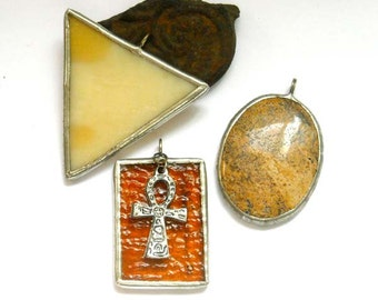 Beige Stained Glass Pendants - Lot Of 3