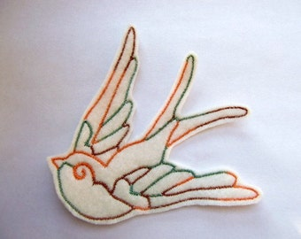 Iron On Patch Sew On Patch Swallow Bird  Applique