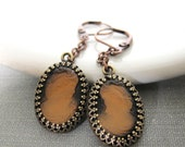 Copper Earrings, Cameo Earrings, Glass Cameo, Cameo Jewelry, Victorian Cameo, Black and Amber, Dangle Earrings,