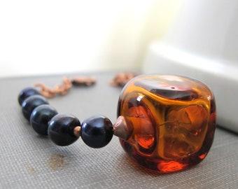 Pearl Bracelet, Copper Bracelet, Hollow Glass, Glass Bracelet, Black Pearls, Dark Amber, Transparent Amber, Copper Jewelry