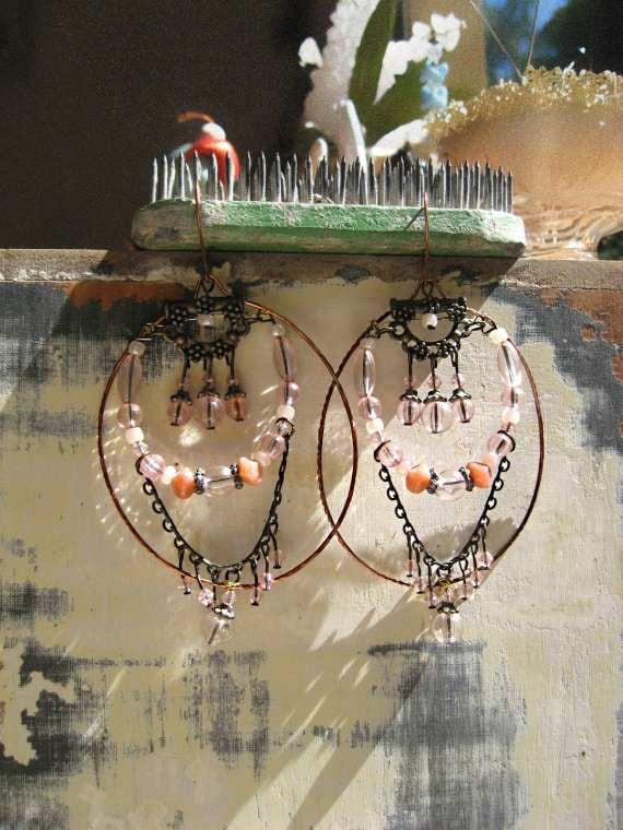RESERVED For LG - Pale Pink Hoop Earrings, Beaded, Large Oval Copper Hoops, Bohemian Gypsy