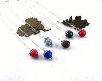 Acorn Necklace - your choice of colors