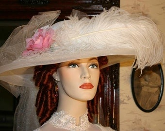 Kentucky Derby Hat Victorian Wedding Hat - Miss White Crystal Fairy