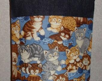 New Small Handmade Cat Kittens Pet Denim Tote Bag