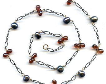 Garnet And Pearl Necklace FD708