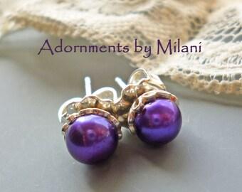 Purple Earrings Pearl Stud Posts Small Bridesmaid Sterling Silver - Dark Concord Purple