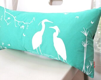 Mint Green Egret Lovers in the Swamp Rectangle Pillow