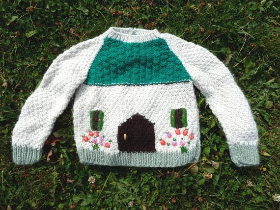 Childrens Vintage 80s COZY HOUSE Knitted Popsicle Sweater sz 2 yrs