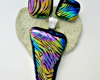 Colorful Stripes - Fused Dichroic Glass Pendant and Earring Set