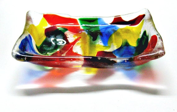 Burst of Color Soap Dish - Colorful Fused Glass Trinket Dish - Jewelry Holder