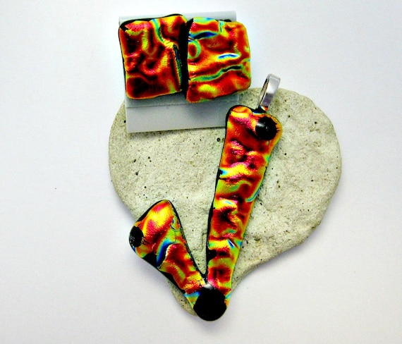 Fused Glass Pendant and Earrings -  Orange Red Dichroic Art Glass
