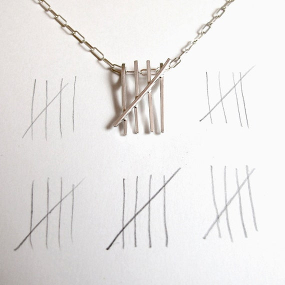 Tally Mark Necklace - Sterling Silver Counting