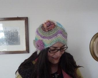 Handspun hat for women, freeform crazy crochet, modern 1920s cloche style, Noro yarn