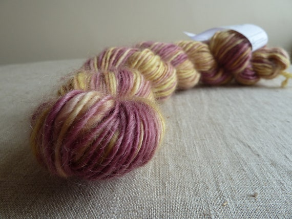 SALE - Handspun yarn, pure British Wensleydale wool, hand dyed purple and yellow