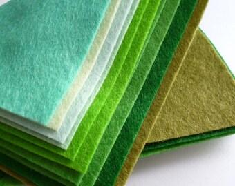 "GREENS Premium Wool Blend Felt Pack 10x 12"" squares"