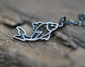Sterling Silver Koi Necklace . Oxidized Japanese Fish Pendant Original Modern Jewelry Gift