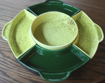 Green & Yellow Sectioned Serving Tray Swiveling with Metal Holder Server Dish Set