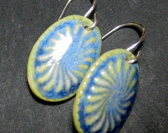 Porcelain Earrings In Glaicer Blue With Sterling Silver Earwires