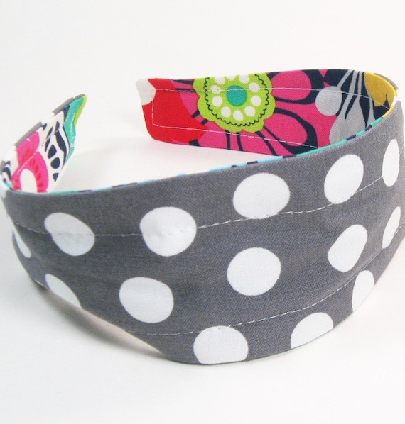 Reversible Fabric Hard Headband in Gray Dots & Bright Floral