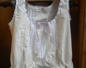 Semi custom Camisole in natural unbleached white - You pick size and ribbon color.