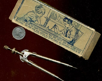 Antique Protractor in Original Box Great Graphics