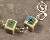 Bracelet - Ceramic Cubes and Sterling Silver