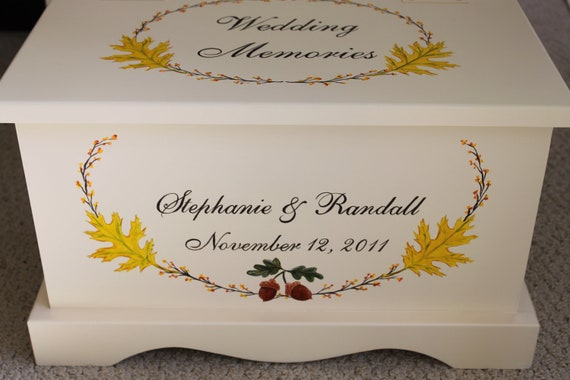 Fall Wedding Gift Card Box : Fall Wedding Keepsake Chest Memory Box personalized wedding gift ...