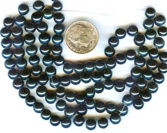 6mm Elegant True Teal Blue Glass Pearls 100 plus pcs