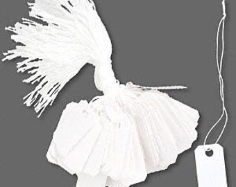 "Versatile White Jewelry Tags Paper and String 1 x 1 1/2"" 25pcs"