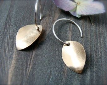golden petal ... mixed metal earring